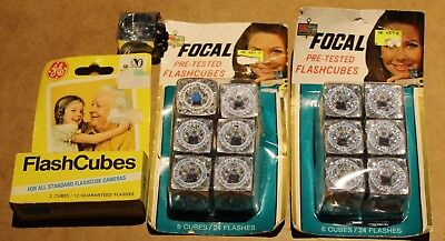 Lot of 16 (64 FLASHES) GE GENERAL ELECTRIC & FOCAL FLASHCUBES CAMERA FLASH CUBES