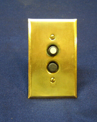 Antique Electrical Push Button Light Wall Switch w Brass Plate - AH&H