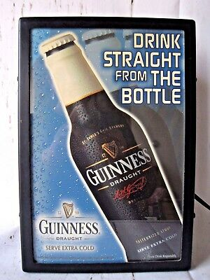 """2000 Guiness Draught """"Drink Straight From the Bottle"""" Lighted sign"""