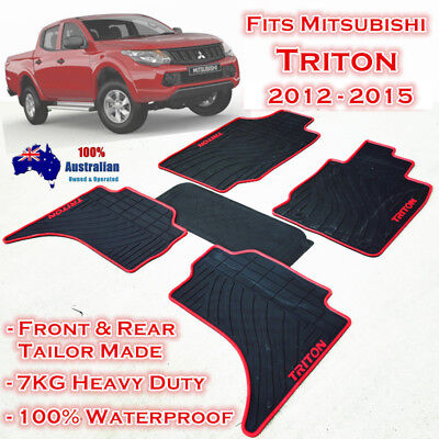 Heavy Duty Floor Mats Tailor Made Mitsubishi Triton 2006 - 2015 Dual Cab Red