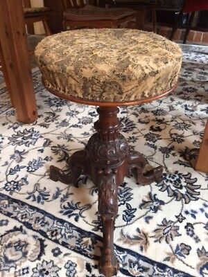 Antique Round Adjustable Piano Stool with 3 legs