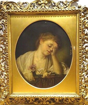 Large 18th Century French Girl Portrait Dead Canary JEAN BAPTISTE GREUZE