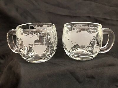 Two Vintage Nestle Nescafe World Globe Etched Glass Coffee Cup Mugs 8 Oz.