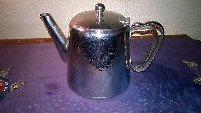 VINTAGE `OLDE HALL` TEA-POT STAINLESS STEEL. MADE IN ENGLAND. 6 ins. TALL.