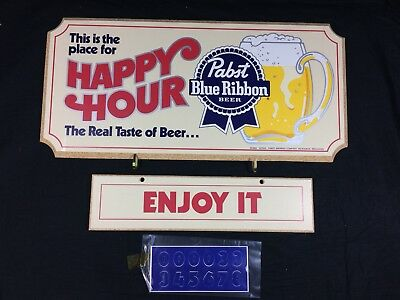 Pabst Blue Ribbon Beer Wood Sign Happy Hour New Old Stock PBR Bar Pub