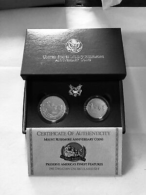 1991 US Mint Mount Rushmore Commemorative 2-Coin Set Uncirculated Set
