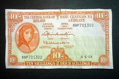 IRELAND LADY LAVERY 10/- Ten Shillings Note Date 6-6-68 ~ Bid From ONLY £5.00