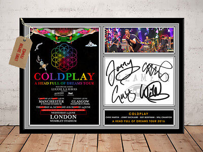 COLDPLAY SIGNED Photo Print A HEAD FULL OF DREAMS 2016 UK Tour FREE Postage