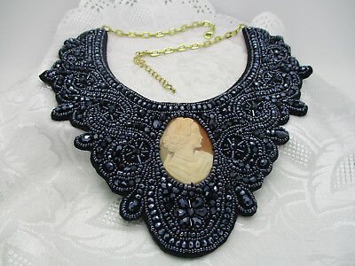 Hsn Amedeo Hand Carved Cornelia Shell Cameo Black Bead Lace Bib Necklace