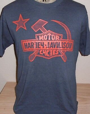 RARE VINTAGE 1980s Harley Davidson Of Russia Siberia Mens Motorcycle T-Shirt