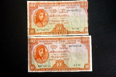 IRELAND LADY LAVERY DAMAGED 10/- Ten Shillings Note Date 6-6-68 ~ Bid From 1p