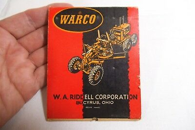 """Warco Motor Grader Western Equipment Co Large 4.25"""" Advertising Match Book"""
