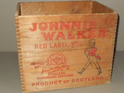 Johnnie Walker Red Label Vintage Wood Crate Dove Tail Joints Antique Liquor Box