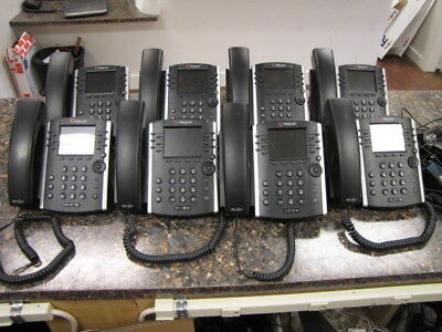 Lot of (8) Polycom VVX400 12-Line VoIP Phones with (6) Power Supplies