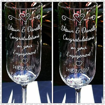 Pair of Engraved Champagne Flutes - Personalised - Engagement Gift - New