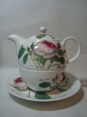 A Vintage Roy Kirkham Tea Set For One, 'redoute Rose'.