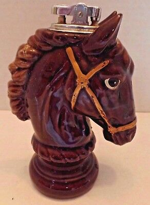 Vintage Horse Head Cigarette Lighter Japan MCM Brown Ceramic Table Top Retro