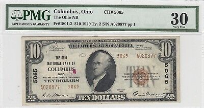 1929 National Currency $10 Ohio NB Columbus OH CH#5065 Fr#1801-2 (PMG 30 VF)