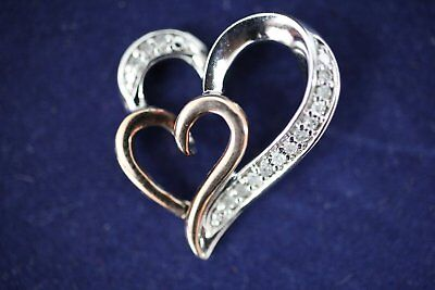 14k Rose Gold and Sterling Silver Diamond Double Heart Pendant