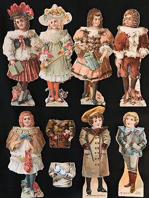 LOT 7 Victorian Paper Dolls/Outfits McLaughlins Coffee Boys/Girls Front/Back