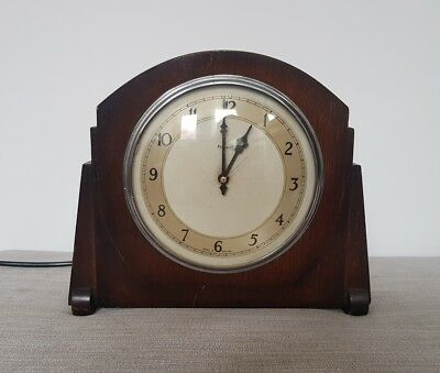 Art Deco Wooden Ferranti Mantle Clock Electric - Working