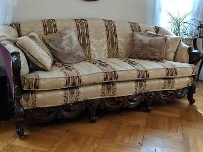 Vintage mahogany couch and chair, Length 81 1/2