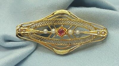 Elegant 10K Karat Solid Yellow Gold Vintage Brooch Pin With Ruby & Pearls