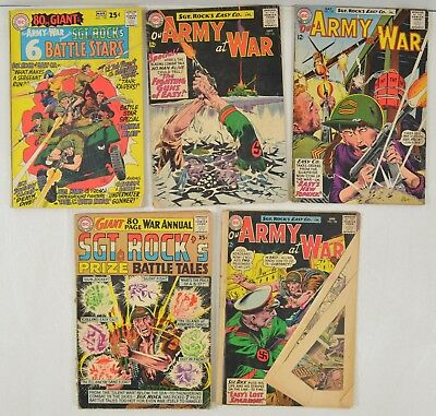 5 SGT. ROCK Our Army At War + GIANT WAR ANNUAL Comics Ungraded Silver Age DC 60s