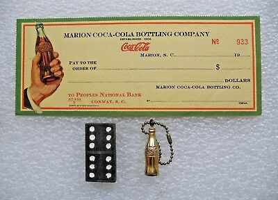 1940s Marion Coca Cola Blank Check & Domino & Gold Tone Pop Bottle Key Chain