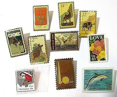 Lot Of Collectible Us United States Postal Service Stamp Design Pins