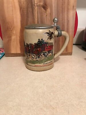 1980 Anheuser-Busch  / Budweiser Clydesdales Lidded Holiday Stein -Green Cases