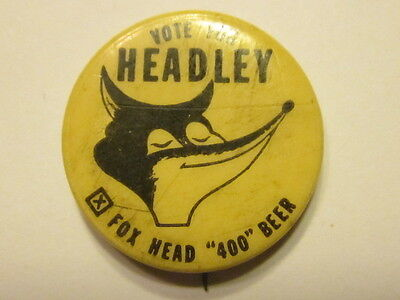 Waukesha, WI Fox Head Beer Cello Pinback / pin