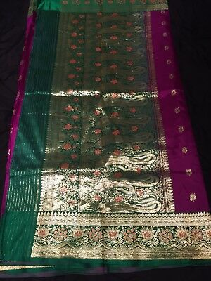 Purple And Green Saree With Golden Embroidery And Blouse