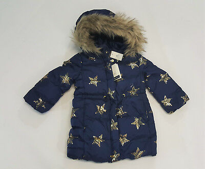 NWT Baby Gap Girls Size 18-24 Months 2t or 3t Gold Star Down Fill Coat Jacket