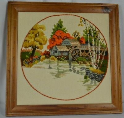 Needlework Finished Crewel Water Wheel Well House Lake Autumn Wall Art Framed