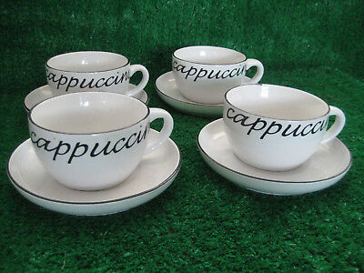4 x White Coffee Cappuccino Cups & Saucers for Your New Coffee Machine