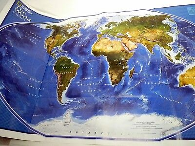 "2001 National Geographic Socity Colored Poster Map 2 Sides 20"" x 32"""