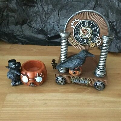aee455fa96 Yankee Candle Set Halloween-Candle Holders-Steampunk Raven-Lost-Pumpkin
