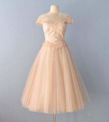 Vtg 1950s William Cahill Wedding Dress Tea Length