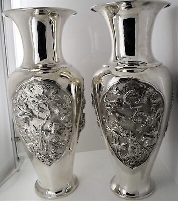 THE BEST - Pair of CHINESE EXPORT solid silver FIGURAL 33cm VASES - signed c1900