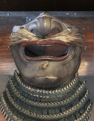 A Fine Antique Edo Period Japanese Samurai Menpo. (Face Mask)