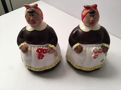 Set of 2 Very Fat Vintage Black Americana Salt and Pepper Shakers  #6