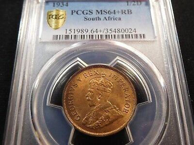 W9 South Africa 1934 1/2 Penny PCGS MS-64+ Red Brown