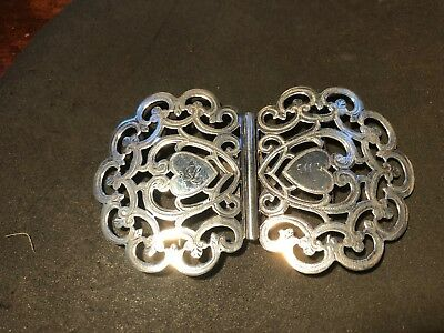antique solid silver nurses belt buckle Birmingham 1901 ,very nice