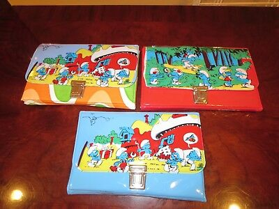 1980s Three Smurfs Pencil Cases * Vintage  Very Rare  Unused N/M *Greece* Smurf
