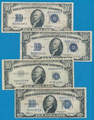 4-$10.1934/53 Mixed Blue Seal Silver Certificate Average Circulated Dealers Lot