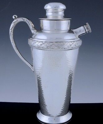 LARGE 1940s HAMMERED REPOUSSE SILVER PLATE MARTINI COCKTAIL SHAKER PITCHER JUG