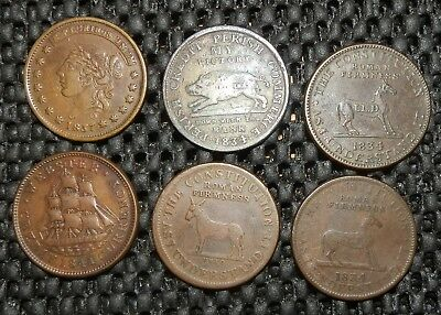 Hard Times Tokens, 6 total tokens, 1834-1841