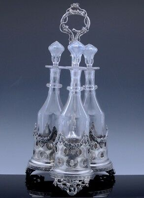 LARGE c1880 VICTORIAN SILVER PLATE & CUT BLOWN GLASS LIQUOR BOTTLES TANTALUS SET