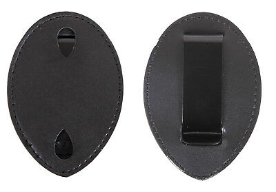 Leather Clip On Universal Badge Holder Police Security Officer Guard Bail Agent